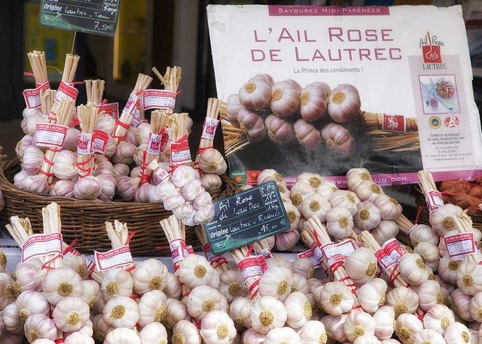 Garlic At A French Market Greeting Card featuring the photograph Garlic At A French Market by Georgia Fowler