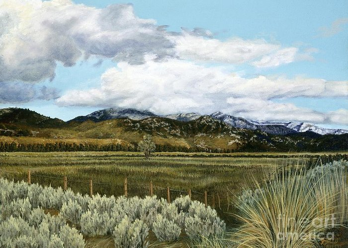 Landscape Painting Greeting Card featuring the painting Garner Valley Meadow by Jiji Lee