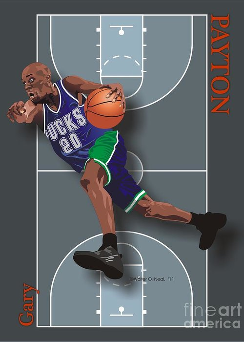 Portraits Greeting Card featuring the digital art Gary Payton by Walter Oliver Neal