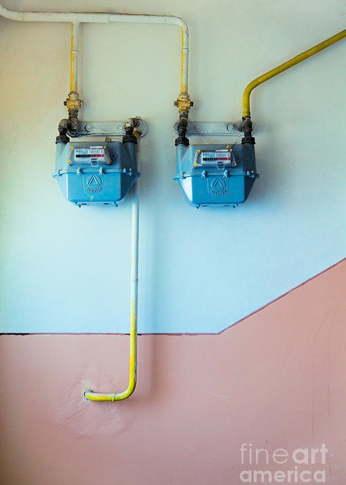 Gas Greeting Card featuring the photograph Gas Meters by Gabriela Insuratelu