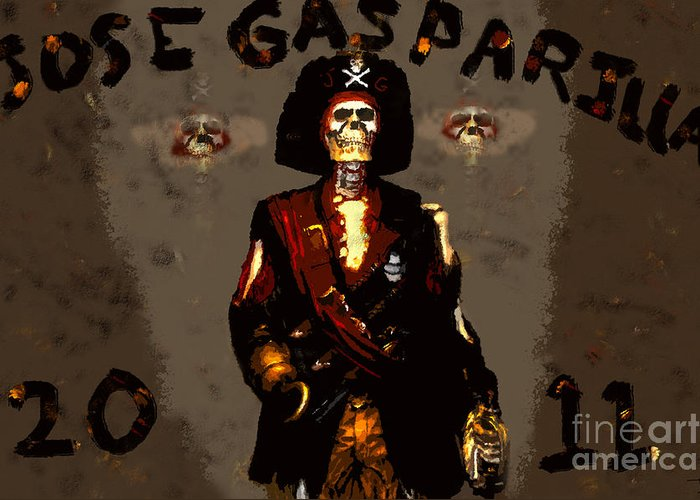 Art Greeting Card featuring the painting Gasparilla 2011 by David Lee Thompson