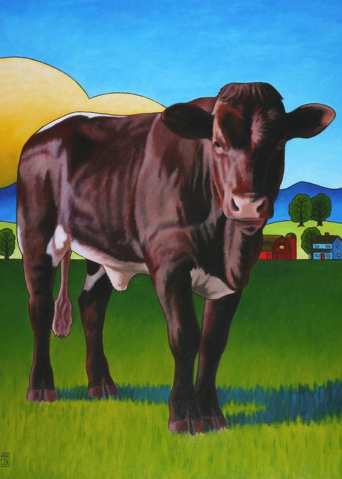 Cow Greeting Card featuring the painting Gaston by Stacey Neumiller