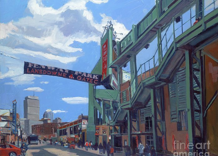 Fenway Greeting Card featuring the painting Gate C by Deb Putnam