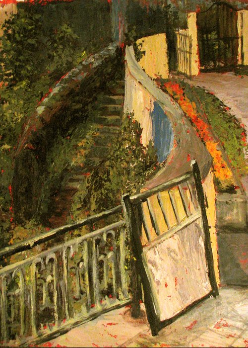 Gate Greeting Card featuring the painting Gated Community by Art Nomad Sandra Hansen