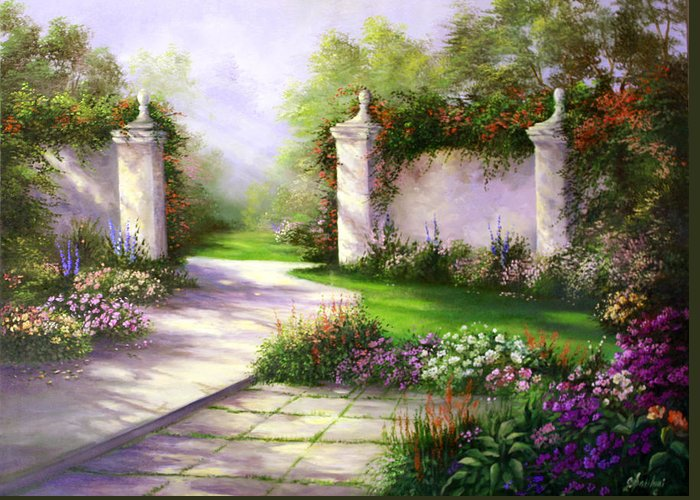 Landscape Greeting Card featuring the painting Gates In Menlo Park by Gail Salitui