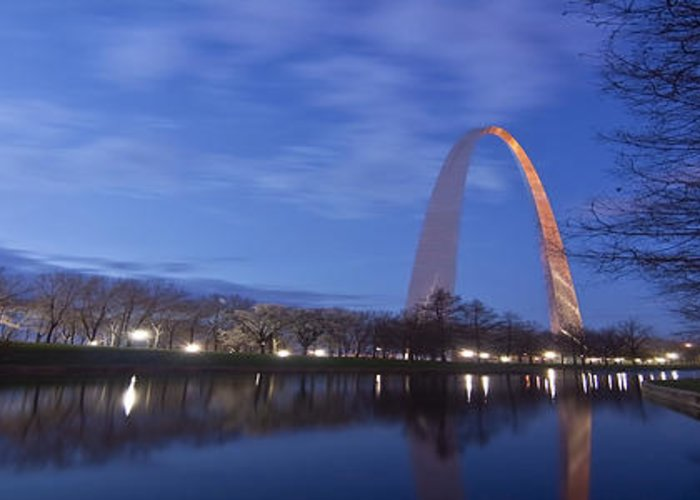 Gateway Arch Greeting Card featuring the photograph Gateway Arch At Dawn Panoramic by Sven Brogren