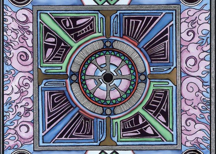 Mandala Greeting Card featuring the drawing Gateway by J P Lambert