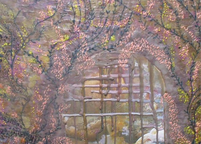 Encaustic Greeting Card featuring the painting Gateway To Positive Change by Heather Hennick