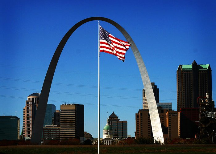 Arch Greeting Card featuring the photograph Gateway To The West by Anthony Jones
