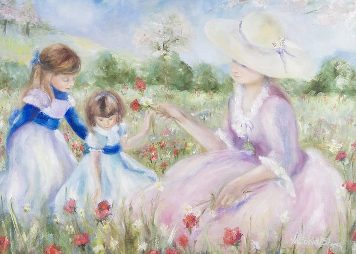 Mother And Child Greeting Card featuring the painting Gathering Flowers by Victoria Shea