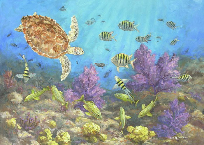 Water Turtle Greeting Card featuring the painting Gathering In The Reef by Carol McArdle