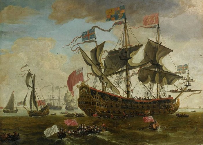 Circle Of Willem Van De Velde The Younger A Gathering Of English Ships Greeting Card featuring the digital art Gathering by Mark Carlson