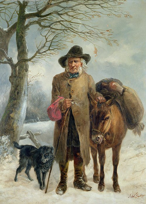 Gathering Greeting Card featuring the painting Gathering Winter Fuel by John Barker