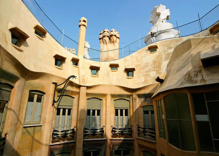 Pedrera Greeting Card featuring the photograph Gaudi La Pedrera Barcelona Spain by Mathew Lodge