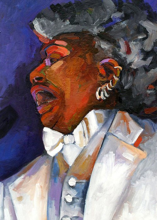 Portrait Greeting Card featuring the painting Gaye Adegbalola by Jackie Merritt