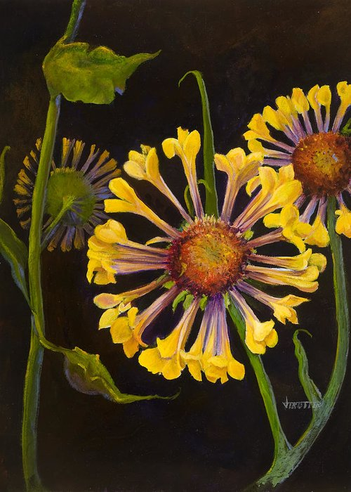 Floral Greeting Card featuring the painting Gaylordia by Jimmie Trotter