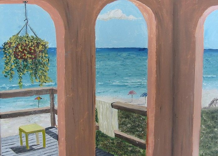 Seascape Greeting Card featuring the painting Gazebo At Blue Mountain Beach by John Terry