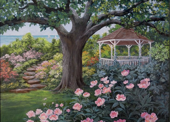 Gazebo Greeting Card featuring the painting Gazebo by the Lake by Lois Mountz