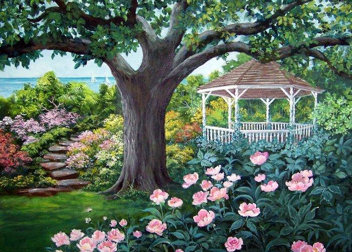 Landscape;acrylic Painting;gazebo;peonies;garden;garden Walk;lake;sailboats;shady Tree; Greeting Card featuring the painting Gazebo By The Lake by Lois Mountz