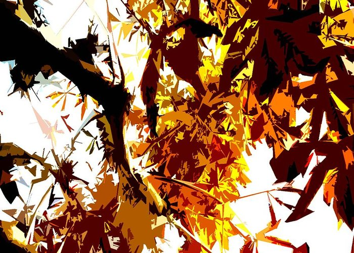 Fall Images Greeting Card featuring the painting Gazing Into The Autumn Trees by Patrick J Murphy