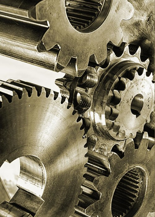 Gears Greeting Card featuring the photograph Gears And Cogwheels In Antique Look by Christian Lagereek