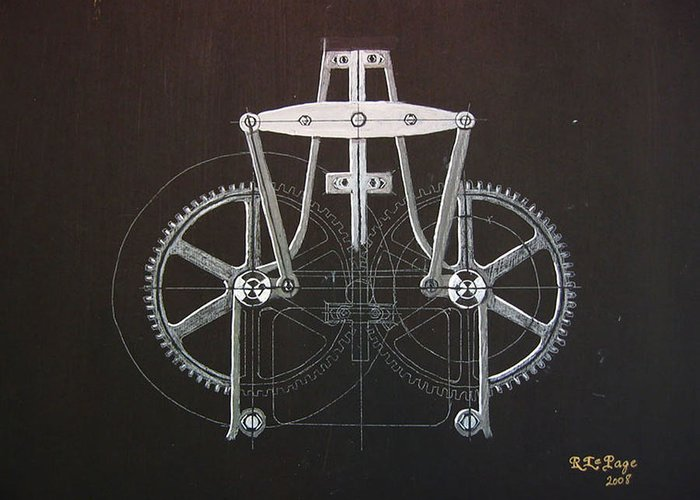 Gears Greeting Card featuring the painting Gears No2 by Richard Le Page