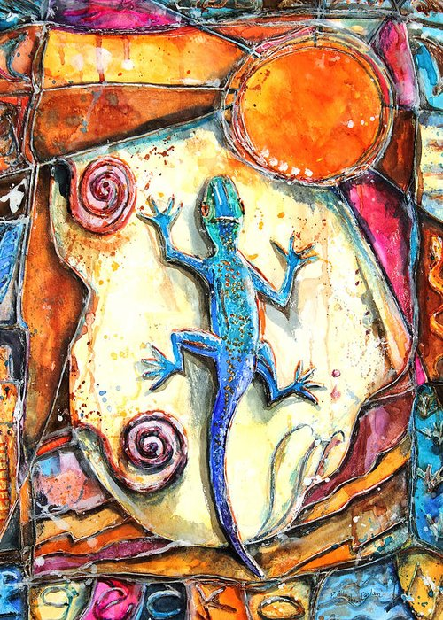 Lizard Greeting Card featuring the painting Gecko by Patricia Allingham Carlson