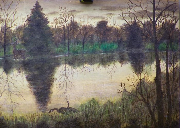 Landscape Greeting Card featuring the painting Geese At Sunrise by Charles Vaughn
