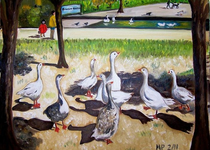 Landscape Greeting Card featuring the painting Geese In The Park by Madeleine Prochazka