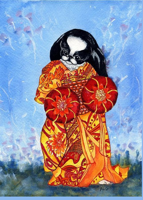 Japanese Chin Greeting Card featuring the painting Geisha Chin by Kathleen Sepulveda