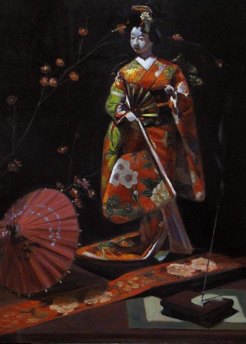 Geisha Greeting Card featuring the painting Geisha Doll In Red by Takayuki Harada