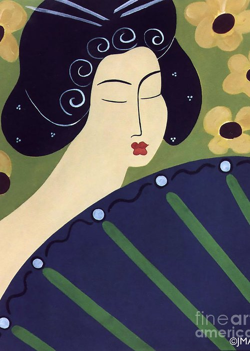 #japanese Greeting Card featuring the painting Geisha Doll by Jacquelinemari
