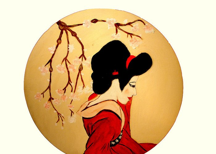 Geisha Girls Greeting Card featuring the painting Geisha Girl by Rusty Gladdish