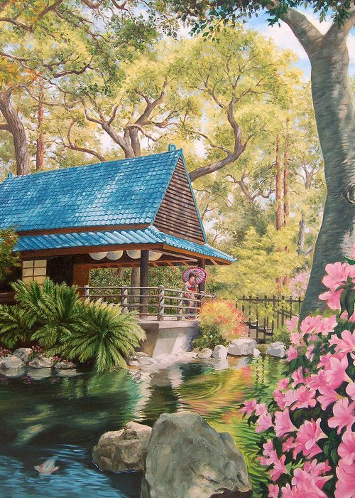 Geisha Japan Teahouse Koi Pond Garden Flowers Greeting Card featuring the painting Geisha In A Japanese Garden by Johanna Girard