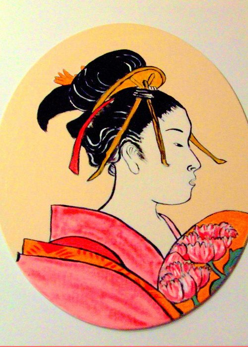 Geisha Girls Greeting Card featuring the painting Geisha In The House Of Pleasure by Rusty Gladdish