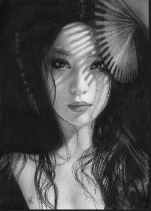 Nat Morley Greeting Card featuring the drawing Geisha by Nat Morley