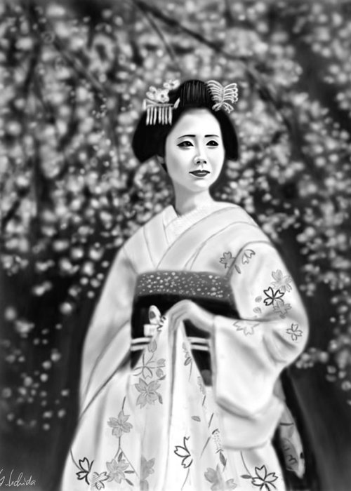 Ipad Greeting Card featuring the painting Geisha No.146 by Yoshiyuki Uchida