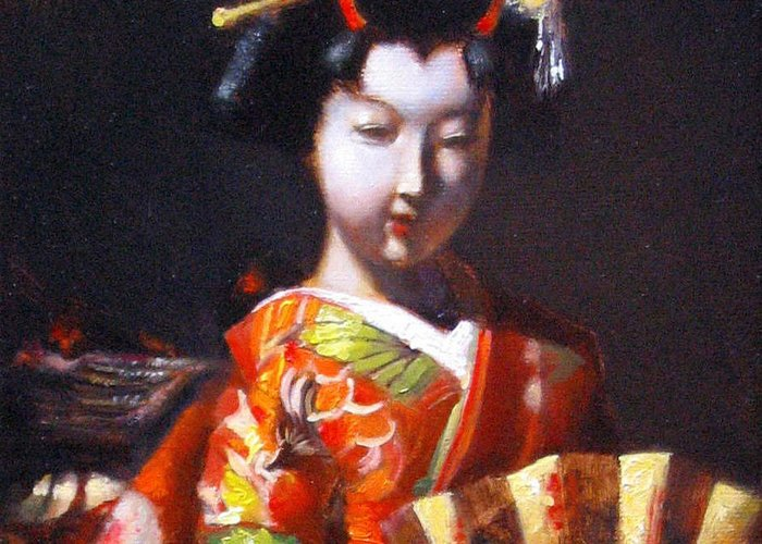 Geisha Greeting Card featuring the painting Geisha With Golden Fan by Takayuki Harada