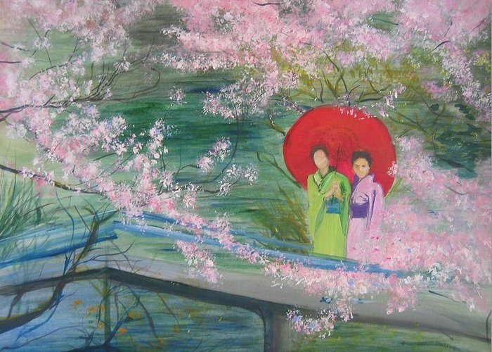 Landscape Greeting Card featuring the painting Geishas and Cherry Blossom by Lizzy Forrester