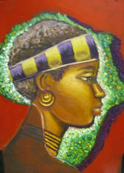 Gem Of Africa Greeting Card featuring the painting Gem Of Africa by Jan Gilmore