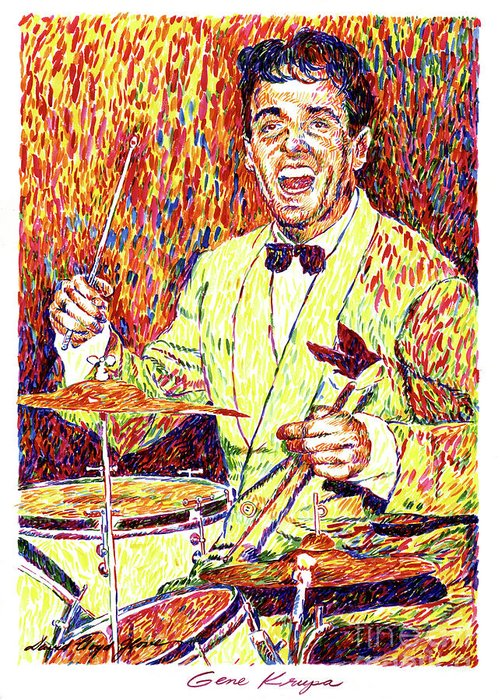 Gene Krupa Greeting Card featuring the painting Gene Krupa The Drummer by David Lloyd Glover