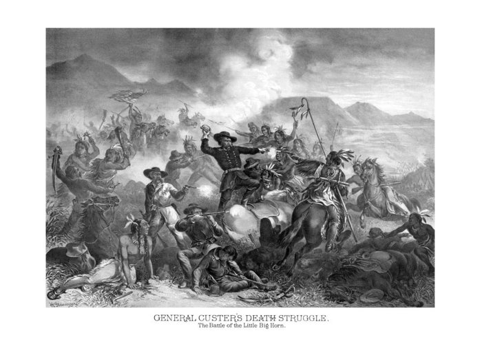 General Custer Greeting Card featuring the drawing General Custer's Death Struggle by War Is Hell Store