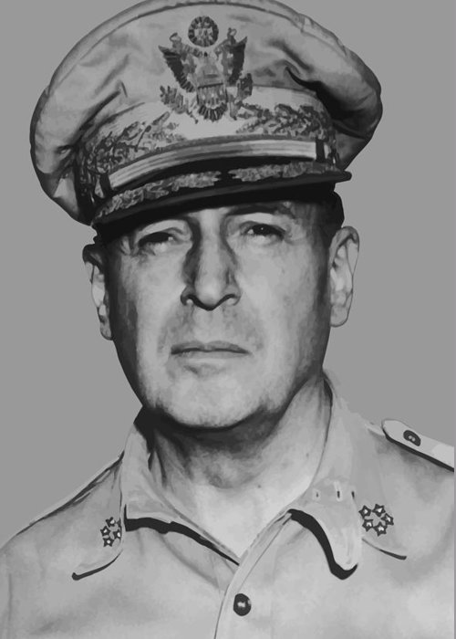 Douglas Macarthur Greeting Card featuring the painting General Douglas Macarthur by War Is Hell Store