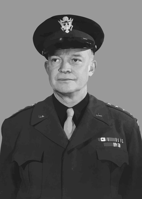 Eisenhower Greeting Card featuring the painting General Dwight D. Eisenhower by War Is Hell Store