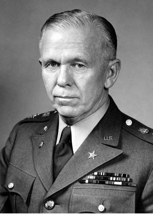 George Marshall Greeting Card featuring the photograph General George Marshall by War Is Hell Store