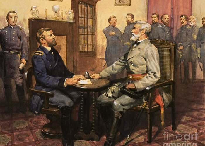 General Grant Meets Robert E. Lee By English School (20th Century) Great Commanders: Hero Of The Southland. General Grant Meets Robert E. Lee. America; Army; Soldiers; American; Flag; American Civil War; Robert E Lee; General Grant; Surrender; Confederate; Union; Us Greeting Card featuring the painting General Grant Meets Robert E Lee by English School