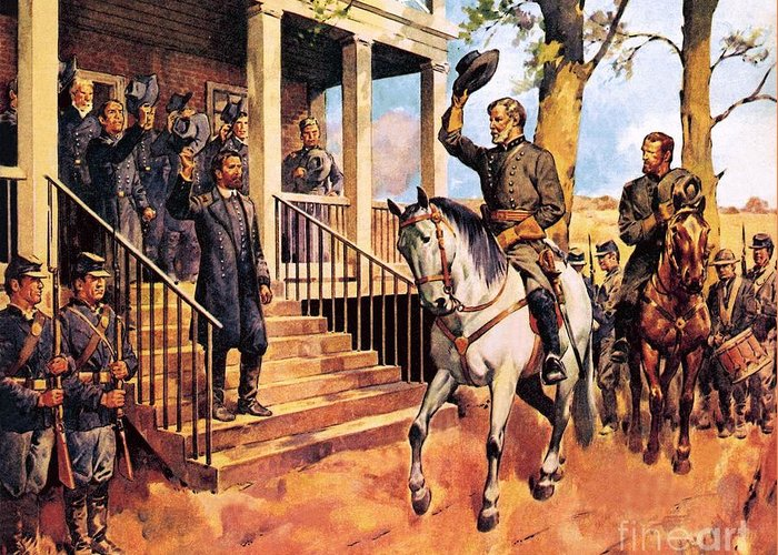 Robert E Lee Greeting Card featuring the painting General Lee And His Horse 'traveller' Surrenders To General Grant By Mcconnell by James Edwin