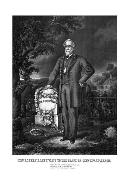 Civil War Greeting Card featuring the mixed media General Lee Visits The Grave Of Stonewall Jackson by War Is Hell Store