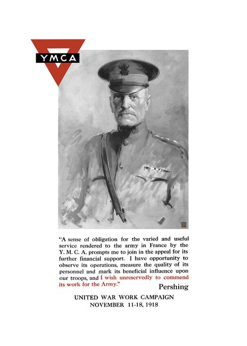 Ww1 Propaganda Greeting Card featuring the painting General Pershing - United War Works Campaign by War Is Hell Store