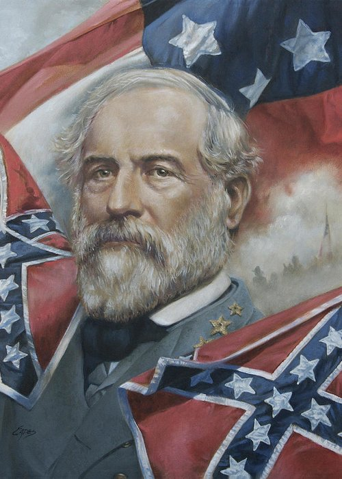 General Lee Greeting Card featuring the painting General Robert E Lee by Linda Eades Blackburn